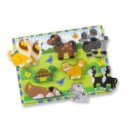 Drewniane duże puzzle dla maluszków zwierzęta domowe Melissa & Doug