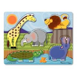 Puzzle sensoryczne, dotykowe, drewniane, zwierzęta w zoo Melissa & Doug